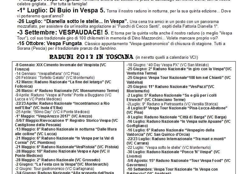 Calendario Interno 2017 Vespa Club Empoli