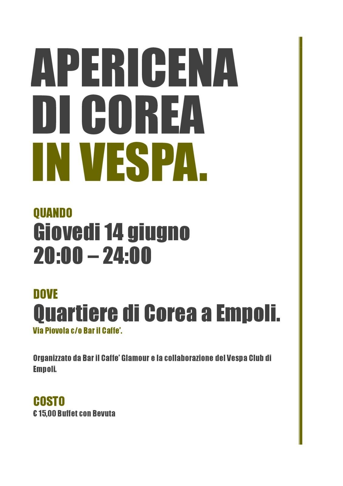 Calendario Vespa 2020.Apericena Di Corea In Vespa Vespa Club Empoli